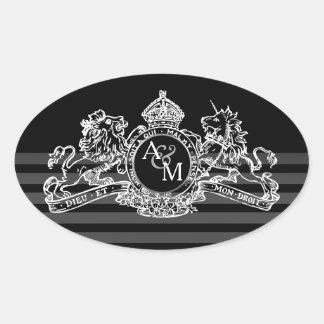 Black White Lion Unicorn Regal Emblem Monogram Oval Sticker