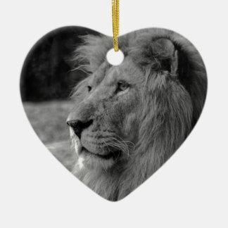 Black & White Lion - Wild Animal Ceramic Ornament