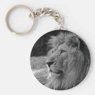 Black & White Lion - Wild Animal Keychain