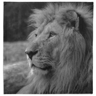 Black & White Lion - Wild Animal Napkin