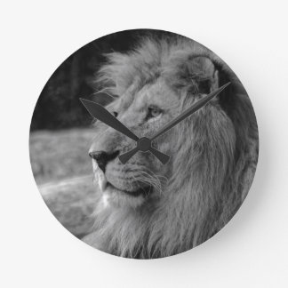 Black & White Lion - Wild Animal Round Clock