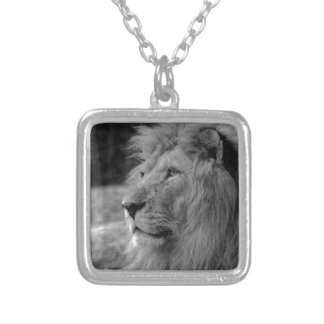 Black & White Lion - Wild Animal Silver Plated Necklace