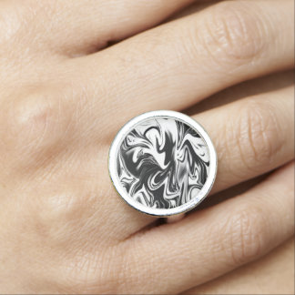 Black White Liquefied Marble, Round Dress Ring. Photo Rings
