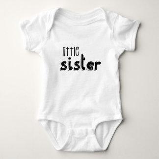 Black & White Little Sister Typography Baby Bodysuit