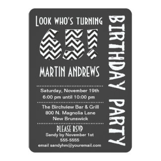 Black/White Look Who's Turning 65 Birthday Invite