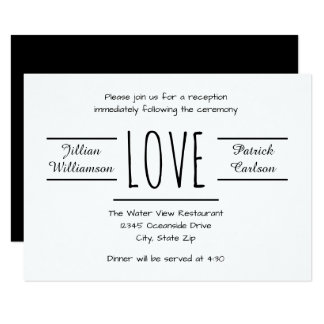 Black/White Love - 3x5 Reception Invitation