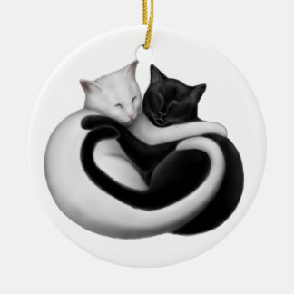 Black & White Love Cats Ornament