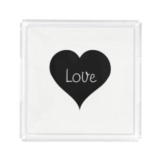 BLACK & WHITE LOVE HEART Text Print Acrylic Tray