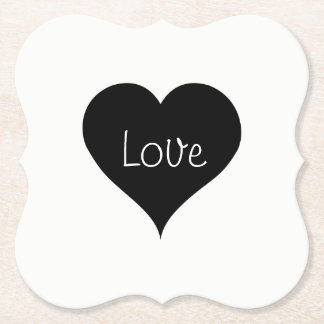 BLACK & WHITE LOVE HEART Text Print Paper Coaster