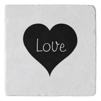 BLACK & WHITE LOVE HEART Text Print Trivet