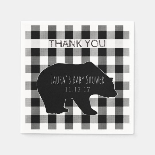 Black & White Lumberjack Plaid   Bear Baby Shower Paper Napkin