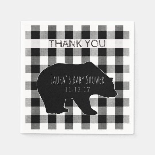 Black & White Lumberjack Plaid | Bear Baby Shower Paper Napkins
