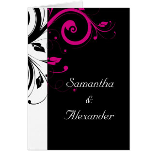 Black White Magenta Swirl Wedding Invitation Cards