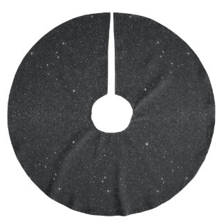 Black & White Majestic Starry Nebula Night Brushed Polyester Tree Skirt