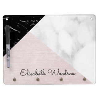 Black White Marble and Pink Silk Abstract Collage Dry Erase Board With Keychain Holder