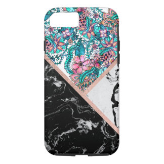 Black white marble chic  floral color block iPhone 8/7 case