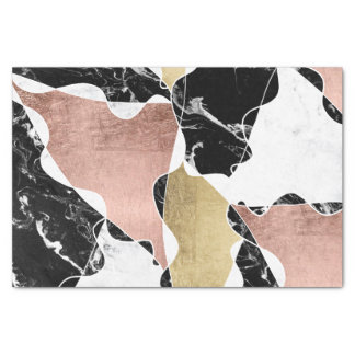 black white marble chic rose gold color block tissue paper