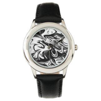 Black White Marble, Kids Black Leather Watch