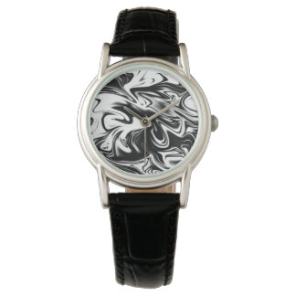 Black White Marble, Ladies Leather Classic Watch