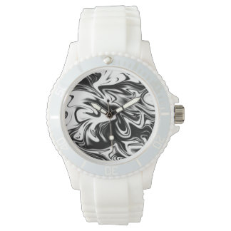 Black White Marble, Ladies White Sports Watch