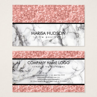 Black White Marble Pink Rose Glitter Business Card