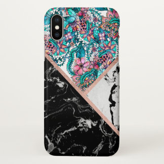 Black white marble rose gold floral color block iPhone x case