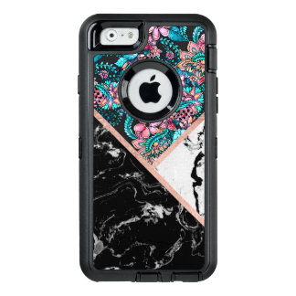Black white marble rose gold floral color block OtterBox iPhone 6/6s case