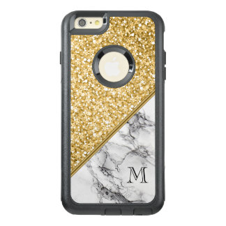 Black White Marble Stone And Gold Glitter OtterBox iPhone 6/6s Plus Case