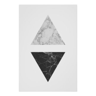 Black & White Marble Triangles Poster