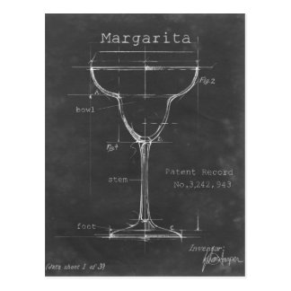Black & White Margarita Glass Blueprint Postcard
