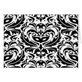 Black & White Masquerade Damask Card
