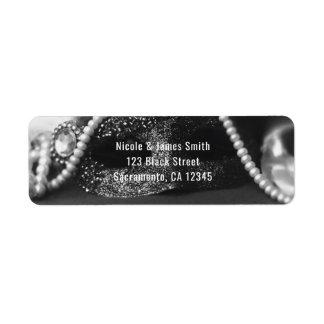 Black & White Masquerade Mask & Pearls Invitation
