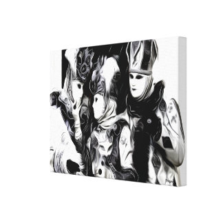 Black & White Masquerade Trio - Mask Print