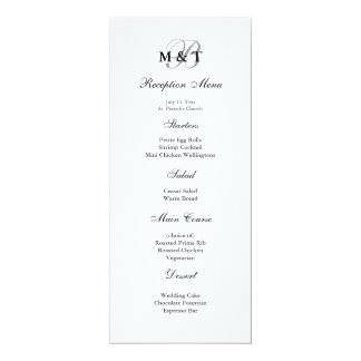 "Black & White Matte Monogram Wedding Menu 4"" X 9.25"" Invitation Card"