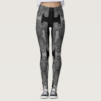 Black & White Mechanical Android Futuristic Robot Leggings