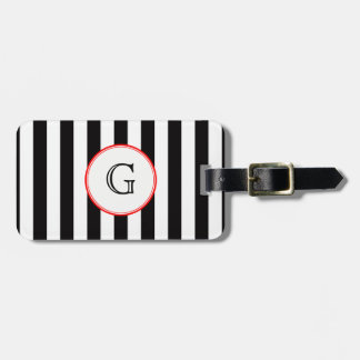 Black White Medium Stripe Red White Monogram Label Luggage Tag