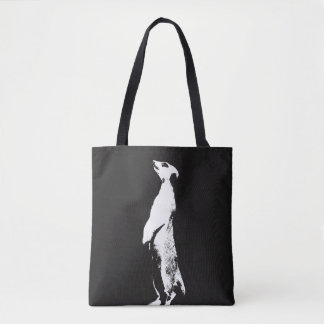 Black & White Meerkat - right - Tote Bag