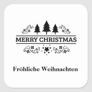 Black White Merry Christmas Fröhliche Weihnachten Square Sticker