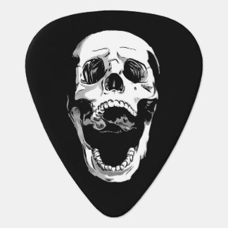 Black white metal screaming skull tattoo guitar pick