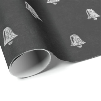 Black White Minimal Bells Christmas Chalkboard Wrapping Paper