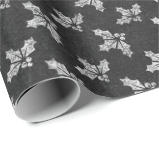 Black White Minimal Christmas Foils Chalkboard Wrapping Paper