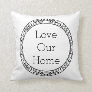 Black & White Minimalist Frame Love Our Home Throw Pillow