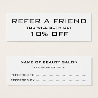 Black white minimalist modern Referral Card