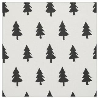 Black white Minimalist PINE TREE CHRISTMAS CUSTOM Fabric