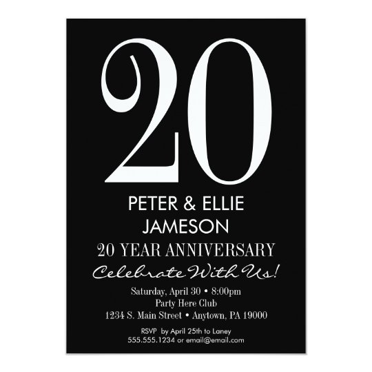 Black & White Modern Anniversary Invitations