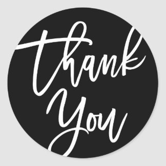 Black & White Modern Calligraphy Thank You Classic Round Sticker