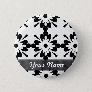 Black & white modern damask 2 inch round button