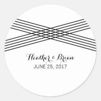 Black White Modern Deco Wedding Stickers Round Sticker