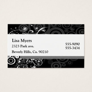 Black & White Modern Dots & Vines Abstract Business Card