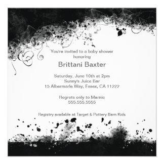 Black White Modern Grunge Baby Shower Invite